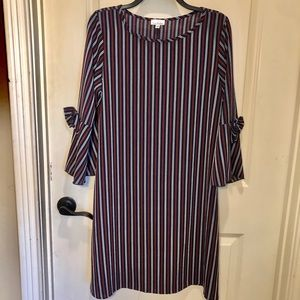 Navy, burgundy and white pin stripped dress